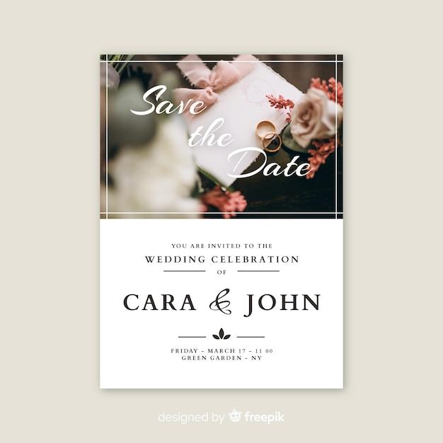 Carte d'invitation de mariage avec photo Vecteur gratuit
