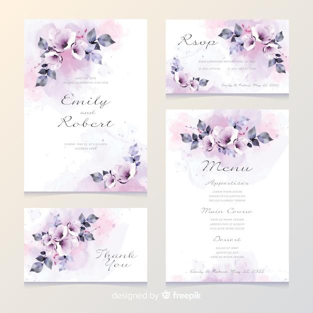 Carte d'invitation de mariage romantique Vecteur gratuit