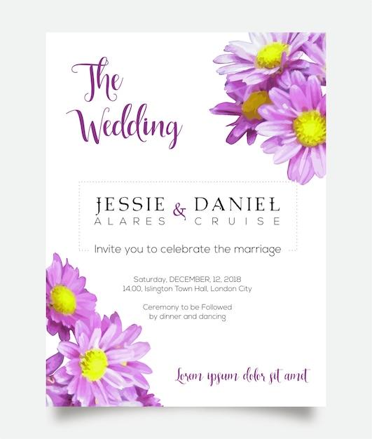 Carte d'invitation de mariage Vecteur Premium