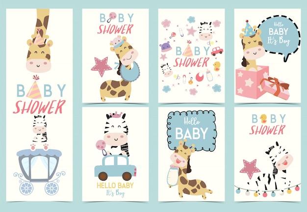 Carte d'invitation mignon bébé douche Vecteur Premium