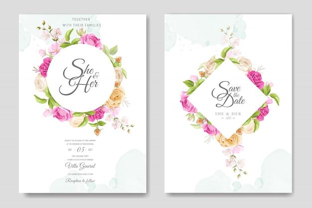 Carte d'invitation avec modèle de belles roses jaunes et roses Vecteur Premium