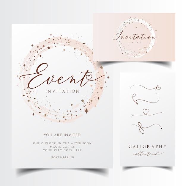Carte D'invitation Moderne Vecteur Premium