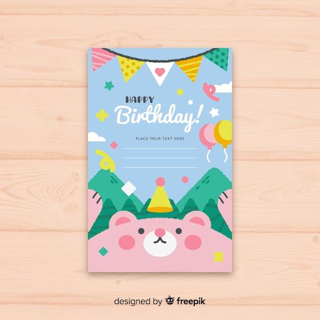 Carte d'invitation plat joyeux anniversaire Vecteur gratuit