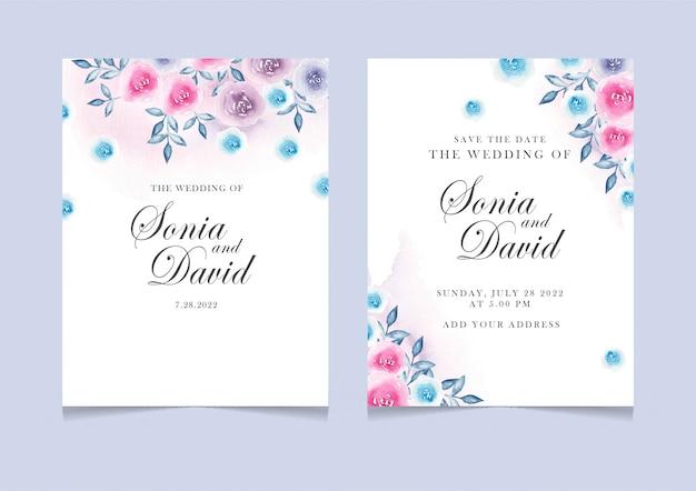 Carte d'invitation avec rose bleu rose Vecteur Premium