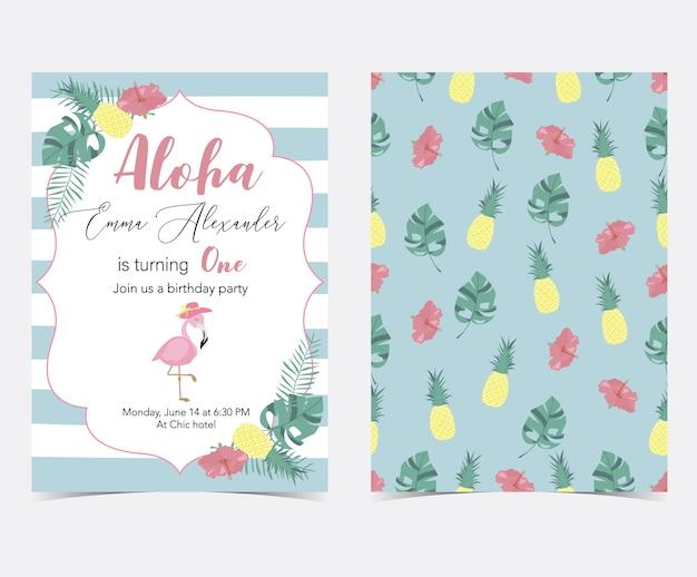 Carte d'invitation rose verte avec paume, ananas, hibiscus, flamant rose, feuille de bananier et fleur Vecteur Premium