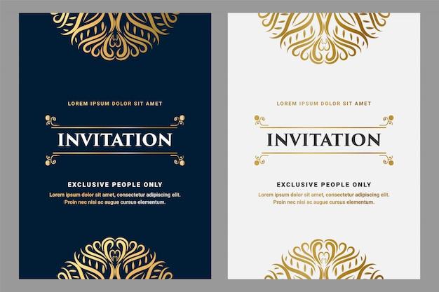 Carte D Invitation De Style D Ornement Vintage Royal De Luxe Avec Cadre Pour Invitation D Anniversaire De Mariage Modele Dore Et Noir Vecteur Premium
