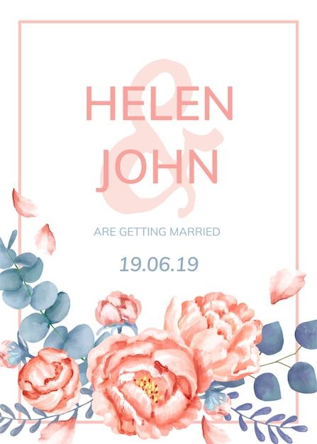 Carte d'invitation avec un thème floral Vecteur gratuit