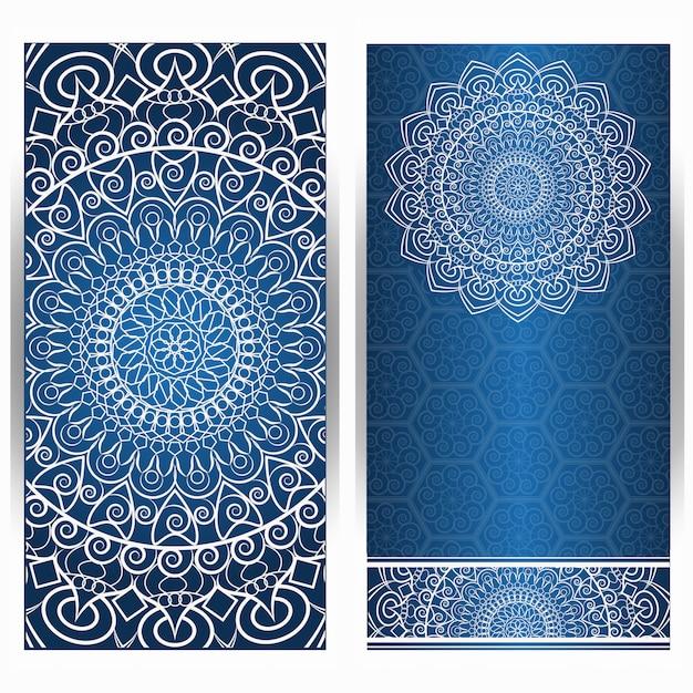 Carte D'invitation Vintage Avec Motif Mandala Sur Violet Vecteur Premium