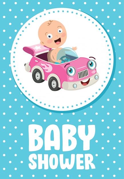 Carte d'invitation de voeux pour l'événement de douche de bébé Vecteur Premium