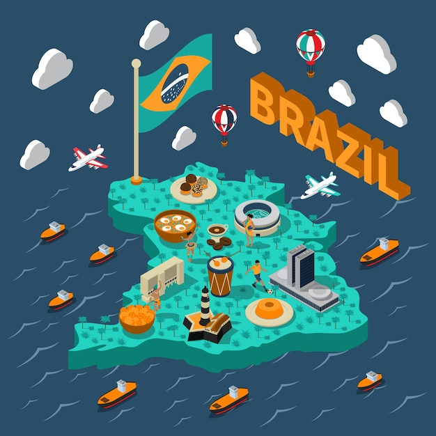 Carte Isométrique Du Brésil Vecteur gratuit