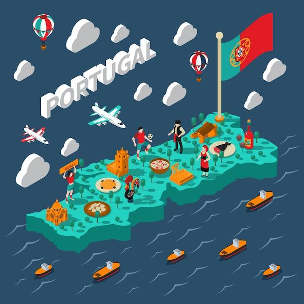 Carte isométrique du portugal Vecteur gratuit