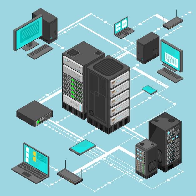 Carte isométrique de gestion de réseau de données avec des serveurs de réseau d'entreprise Vecteur Premium