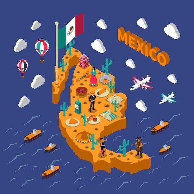 Carte isométrique des symboles des attractions touristiques mexicaines Vecteur gratuit