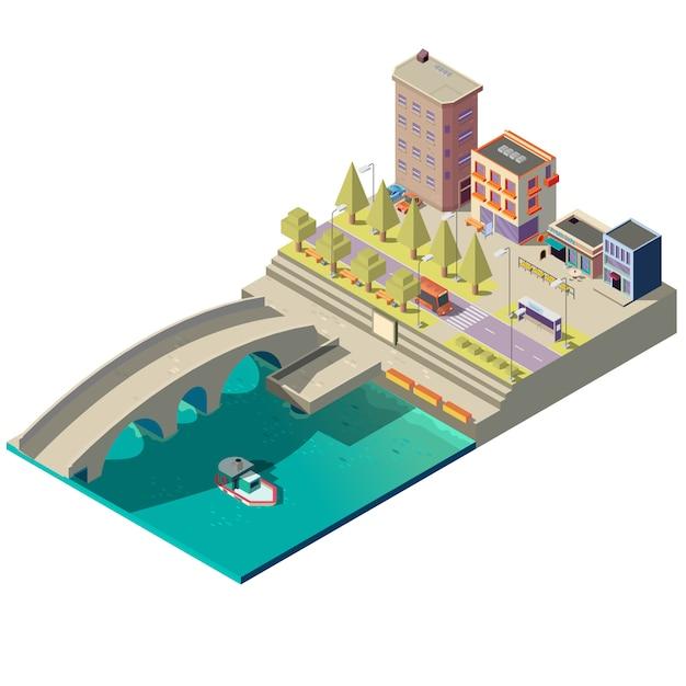 Carte isométrique de la ville avec des bâtiments Vecteur gratuit