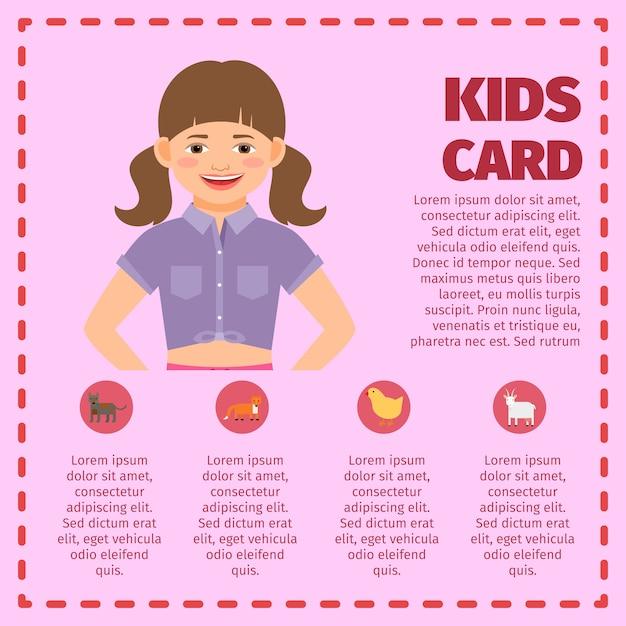 Carte de jardin d'enfants rose infographique Vecteur Premium