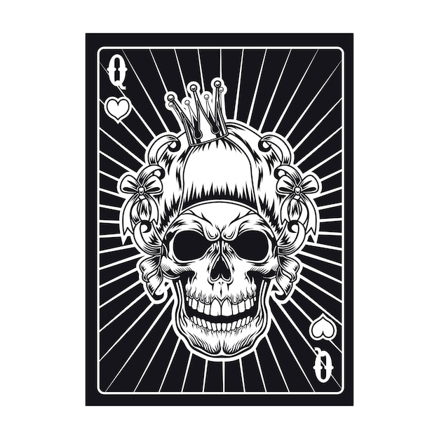 Carte à Jouer Avec Crâne Agressif De Reine. Cœurs Vecteur gratuit