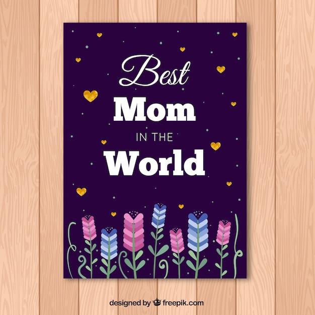 Carte De Jour De Mère Avec Des Coeurs Et Des Fleurs D'or Vecteur gratuit