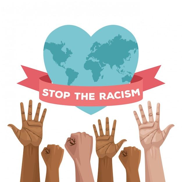Carte De La Journée Internationale Contre Le Racisme Avec Les Mains Et La Planète Cœur Vecteur Premium