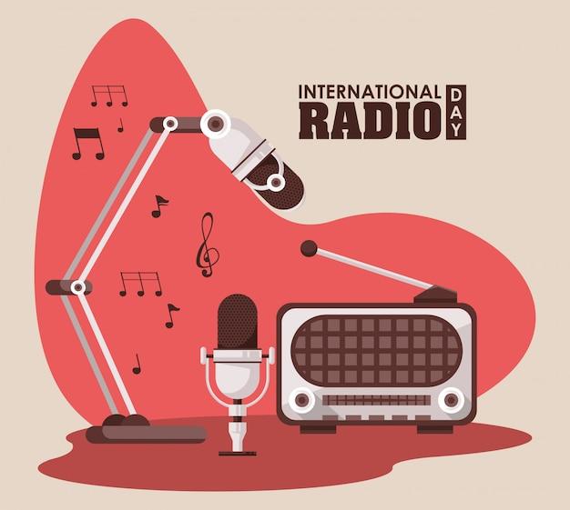 Carte De La Journée Internationale De La Radio Vecteur Premium