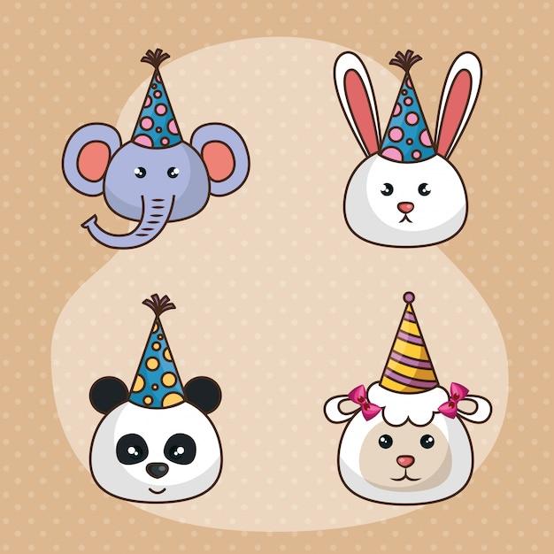 Carte de joyeux anniversaire avec des animaux mignons Vecteur gratuit