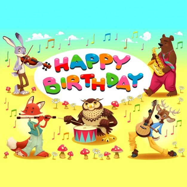 Carte De Joyeux Anniversaire Avec Des Animaux Musiciens Cartoon