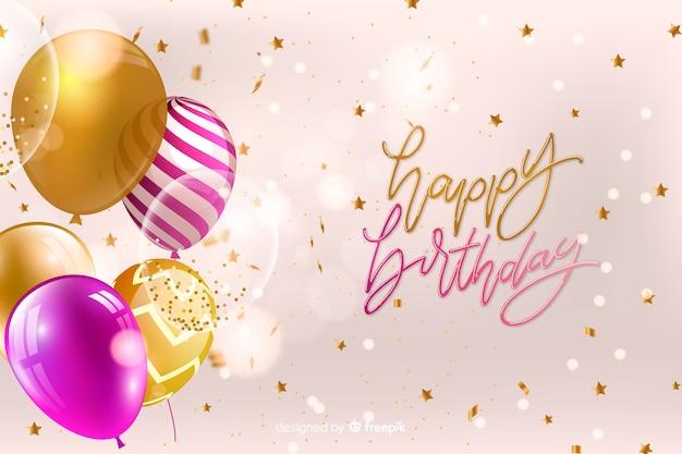 Carte De Joyeux Anniversaire Avec Des Ballons Vecteur Premium