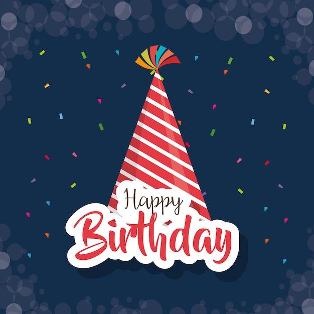 Carte de joyeux anniversaire avec chapeau de fête Vecteur Premium