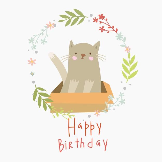 Carte De Joyeux Anniversaire Avec Chat Dans Une Boîte Vecteur gratuit