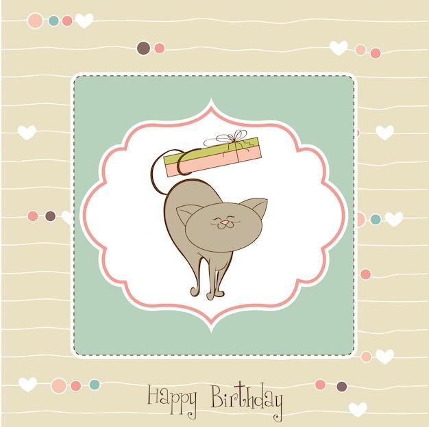 Carte de joyeux anniversaire avec un chat mignon Vecteur Premium