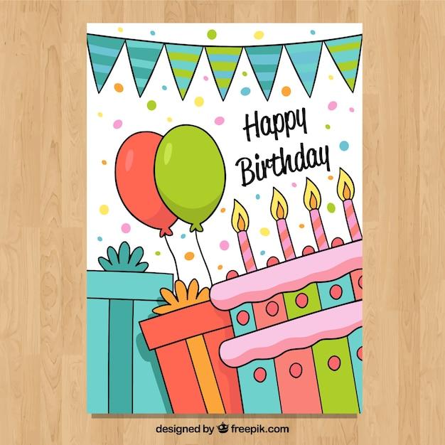 Carte de joyeux anniversaire dans un style dessiné à la main Vecteur gratuit