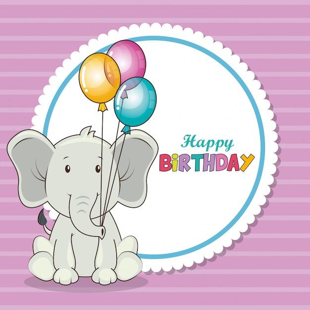 Carte de joyeux anniversaire avec l'éléphant mignon Vecteur gratuit