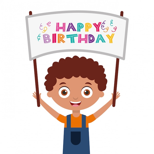 Carte de joyeux anniversaire avec des enfants Vecteur Premium