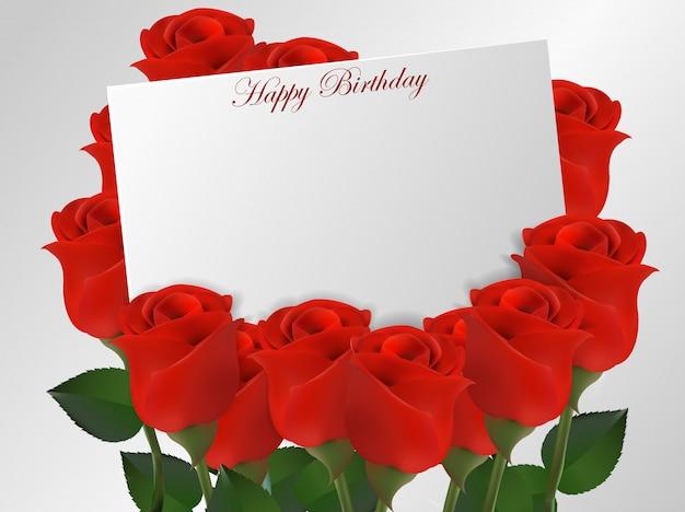 Carte De Joyeux Anniversaire Avec Fleur De Roses
