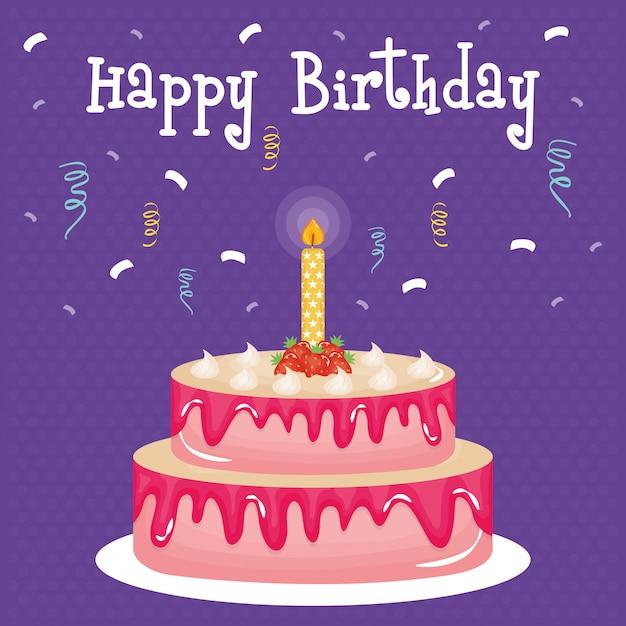 Carte de joyeux anniversaire avec un gâteau et une bougie Vecteur Premium