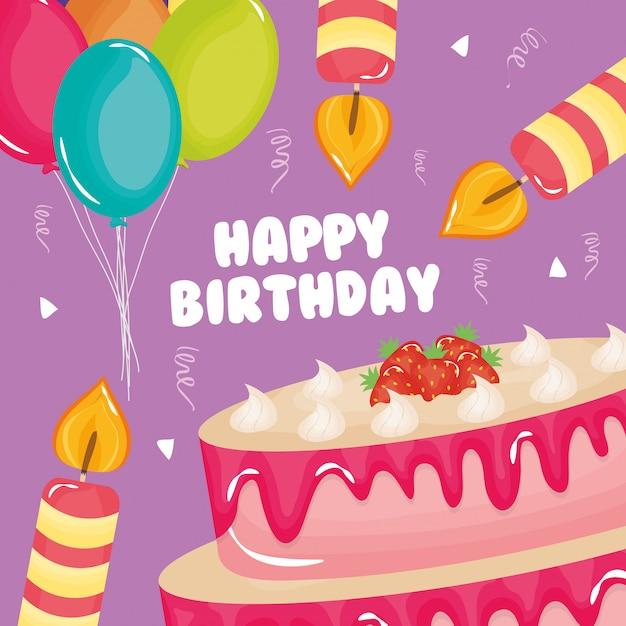 Carte de joyeux anniversaire, gâteau sucré et bougie à ballons à l'hélium Vecteur Premium