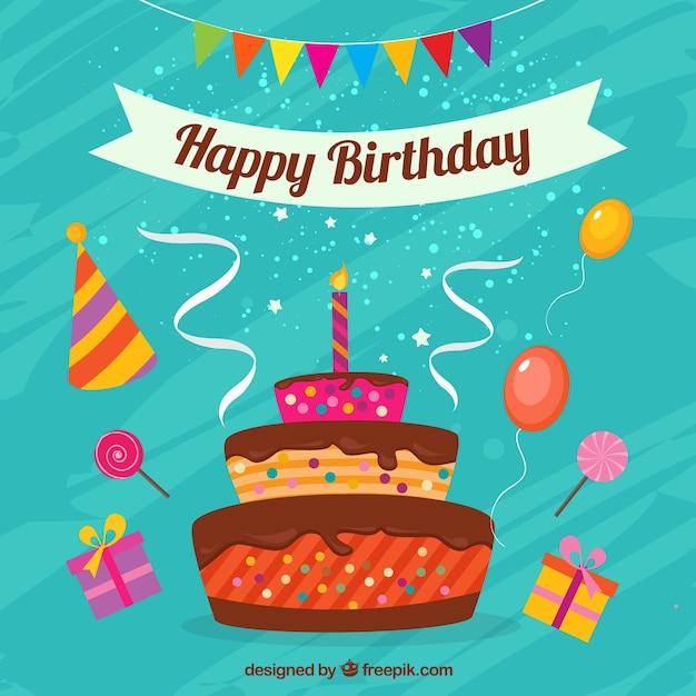 Carte de joyeux anniversaire avec un gâteau Vecteur Premium