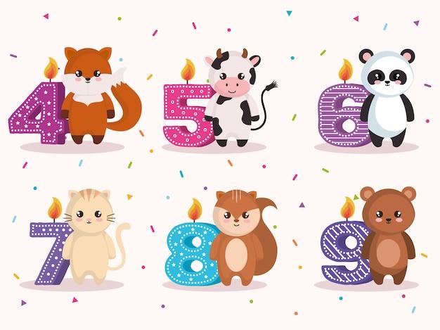 Carte De Joyeux Anniversaire Avec Un Groupe D'animaux Vecteur Premium