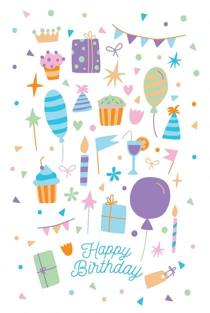 Carte De Joyeux Anniversaire. Illustration De Carte Postale De Dessin Animé Avec Boîte-cadeau, Bonbons Et Ballons. Vecteur Premium