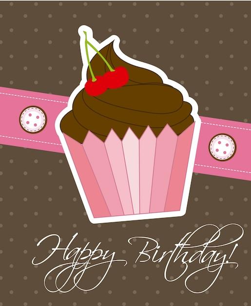 Carte De Joyeux Anniversaire Avec Illustration Vectorielle Cup Cake Vecteur Premium