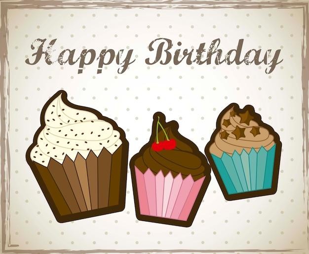 Carte De Joyeux Anniversaire Avec Illustration Vectorielle Cupcakes Vecteur Premium