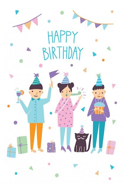 Carte De Joyeux Anniversaire Avec Des Invités Drôles Et Chat. Salutations D'amis. Illustration, Dessin Animé Carte Postale. Vecteur Premium