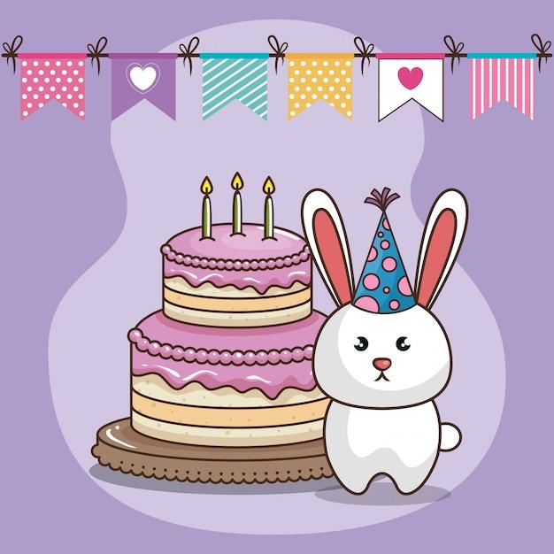 Carte de joyeux anniversaire avec lapin mignon Vecteur gratuit