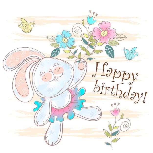 Carte de joyeux anniversaire avec un mignon lapin. Vecteur Premium
