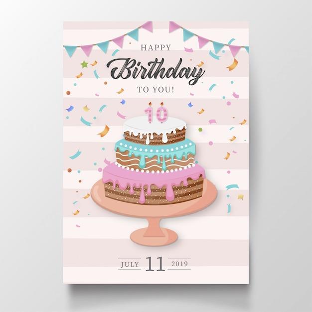 Carte de joyeux anniversaire moderne avec un gâteau Vecteur gratuit