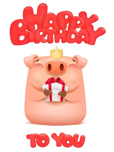 Carte De Joyeux Anniversaire Avec Personnage Emoji Dessin Anime Cochon Mignon Vecteur Premium