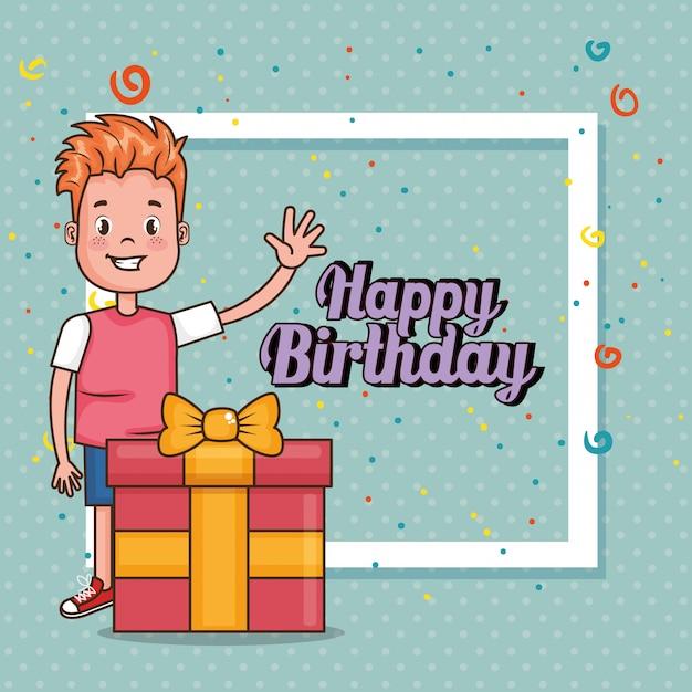 Carte de joyeux anniversaire avec petit garçon Vecteur gratuit