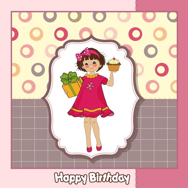 Carte De Joyeux Anniversaire Avec Petite Fille Et Grand Cadeau