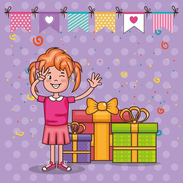 Carte De Joyeux Anniversaire Avec Petite Fille Vecteur Gratuite