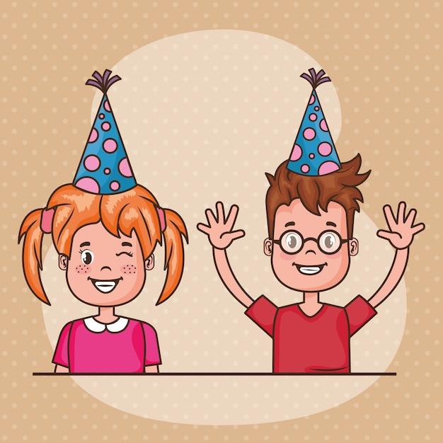Carte de joyeux anniversaire avec petits enfants Vecteur gratuit