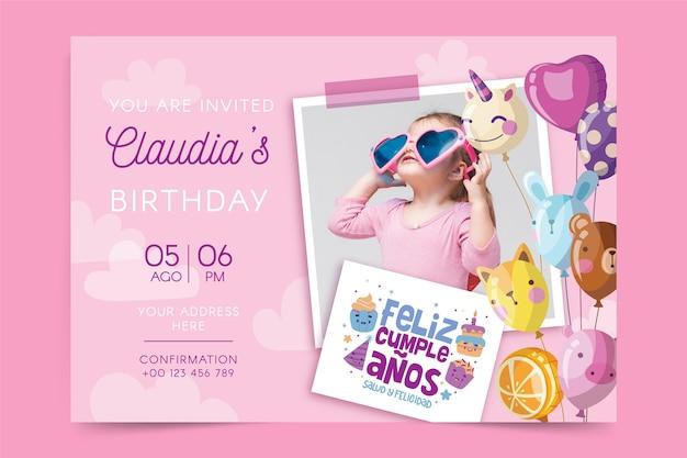 Carte De Joyeux Anniversaire Pour Enfants Vecteur gratuit